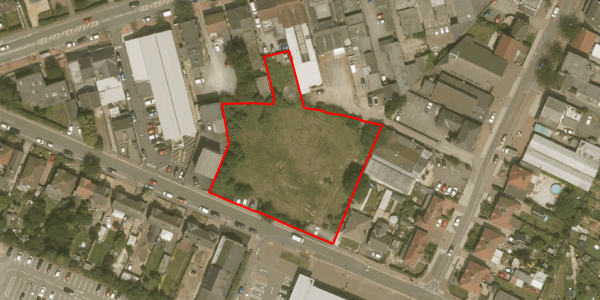 Aerial Boundary Outline - Development Site, Rufford Avenue, New Ollerton, Nottinghamshire, NG22 9PN