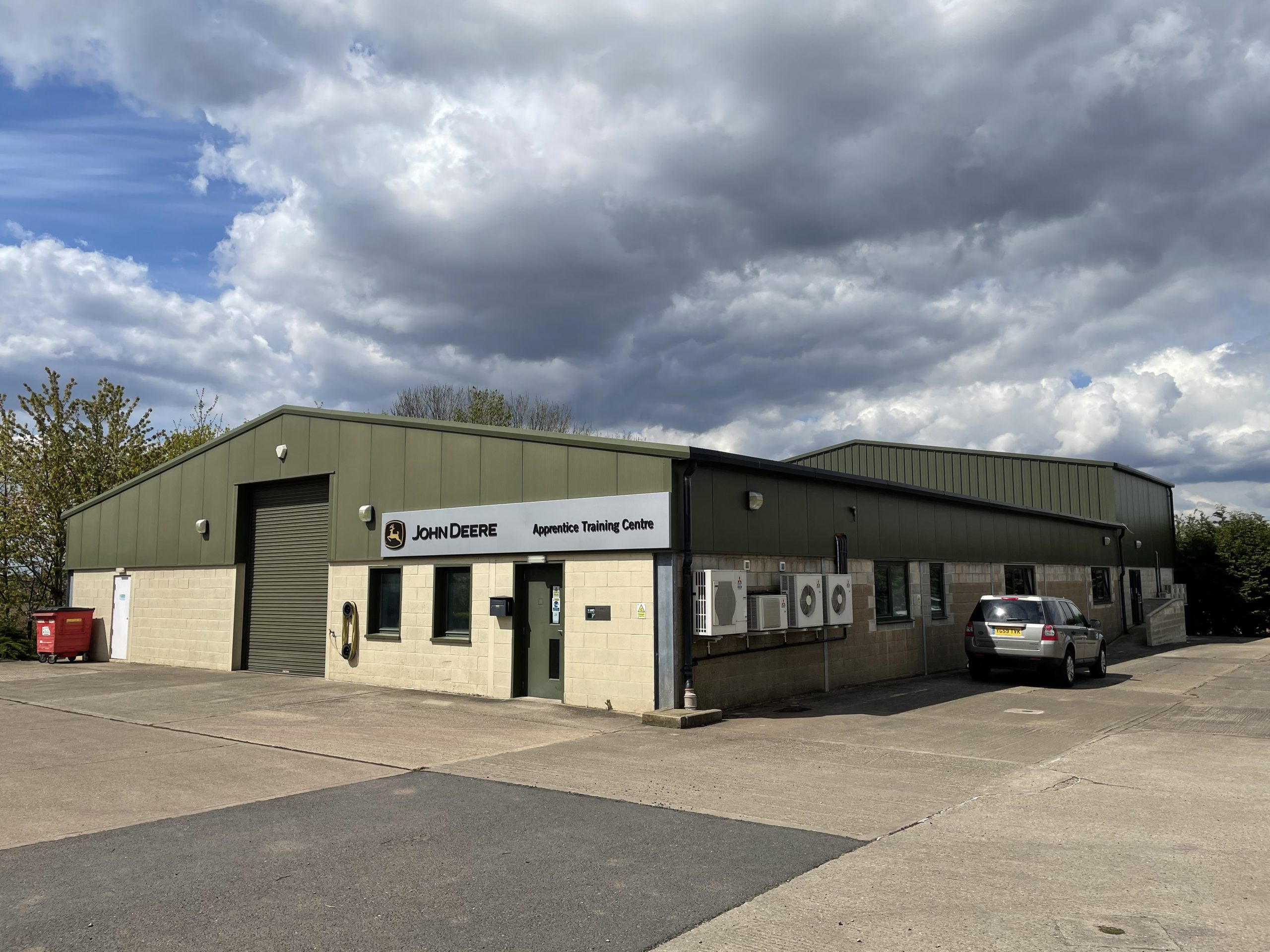 barn conversion into industrial unit with roller shutter door